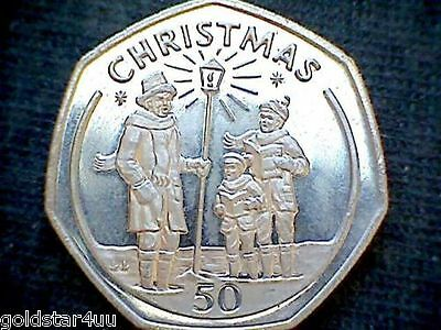 1991 Gibraltar 50p BUNC Fifty Pence Christmas Coin,CAROL SINGERS Low Mintage