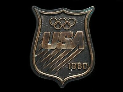Nb09111 Vintage 1980 **usa Olympic Badge** Sports Belt Buckle