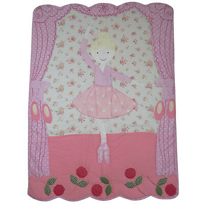 100% Cotton Patchwork Stitched Cot Quilt/Wrap-102x76cms-Powell Craft - Ballerina