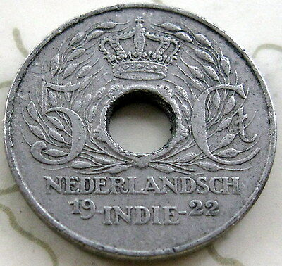 Coin Netherlands Indies 5C 1922 Xf!! T2