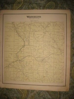 Antique 1875 Waterloo Township Marshfield Mineral City Athens County Ohio Map Nr