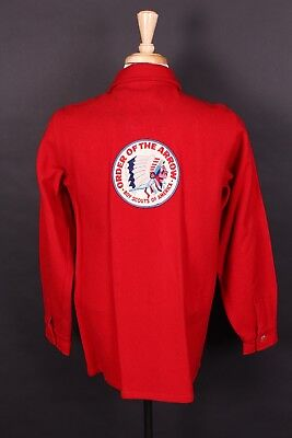 Vtg Boy Scouts Bsa Official Red Wool Coat Jacket Ds Usa Mens Size 40