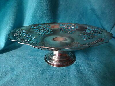 Silverplate Reg PLATO E.P.N.S.MADE IN ENGLAND cut out pedestal dish silver plate