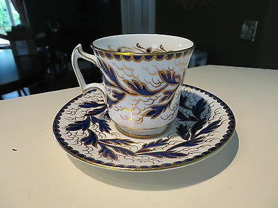 ROYAL CHELSEA TEACUP Cobalt BLUE GOLD TEA CUP AND SAUCER England Bone China NR