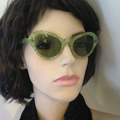 Celluloid Vintage Sunglasses 1950's Green With Gold Detailed Lines Green Tint