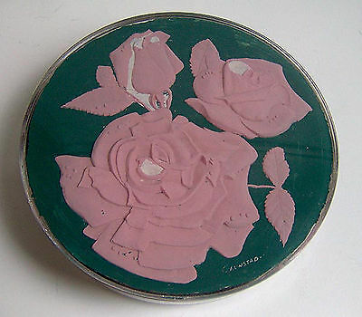 Vintage Lucite Covered Dish Relief Pink Roses Flowers Trinket Box Unique Signed