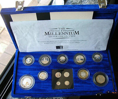 Great Britain 2000 Millennium Box Set of 13 Silver Coins,Proof