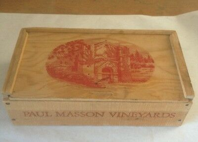 Paul Masson Vineyard Wooden Slide Top Empty Box Crate Saratoga California Winery