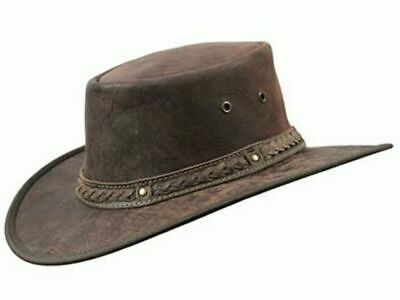 Barmah Foldaway Squashy Crackle Kangaroo Leather Hat