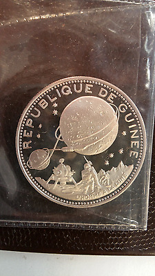 1970 Republic of Guinea Silver Proof 250 Francs- Space Moon Landing ORIGINAL
