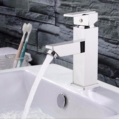 Modern Bathroom Mixer Tap Square Hot/Cold Water Faucet Kitchen Basin Sink Chrome