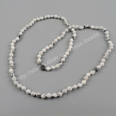 "1Pcs 30"" 6mm White Howlite Turquoise Faceted Beads Long Necklace DIY HOT HJT160"