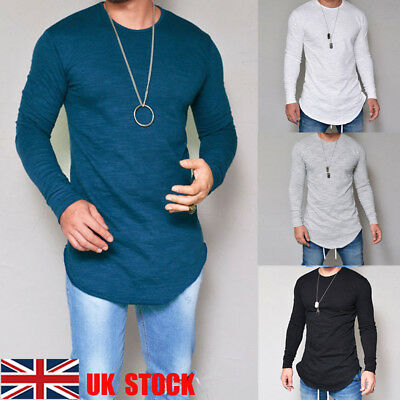 UK Men Crew Neck Long Sleeve Solid Slim Fit Casual Tops T-Shirts Basic Tee S-2XL