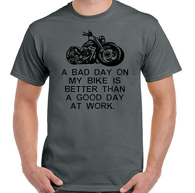 A Bad Day On My Bike Mens Funny Biker T-Shirt Motorbike Motorcycle Indian