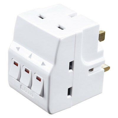 NEW Masterplug Individually Switched Mains Adaptor Plug with 3 Sockets