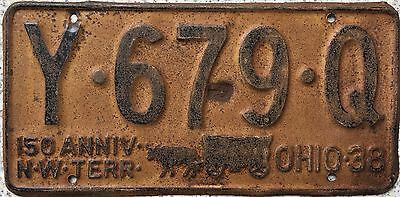 GENUINE 1938 Ohio Covered Wagon 150th American USA License Number Plate Y679Q