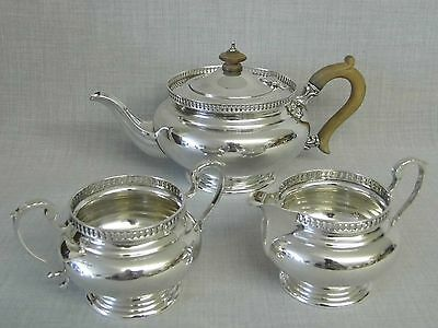 STUNNING 1920s SOLID STERLING SILVER 3 PIECE TEA SET CONDITION SUPERB LON 1927