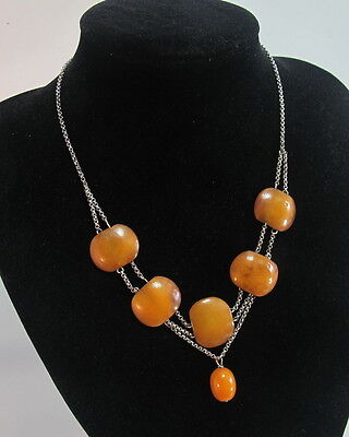 Bernsteinkette Butterscotch Amber Art Deco Collier Silber (477)
