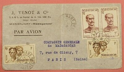 1946 French Madagascar Multi Franked Airmail Cover To Paris