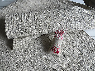 Antique Farmers   Handwoven Thickly Grainsack Linen Fabric 3.75 Yards Upholstery