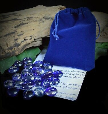 25 Glass RUNES & BAG  Witch WICCA PAGAN Rune Set Witchcraft Tree of Life