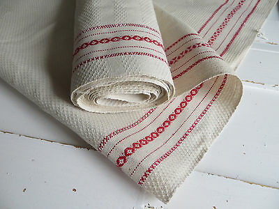 Antique Farmers Kitchen Huck Linen for  Towels Red Stripes 4.30 Yards Unused
