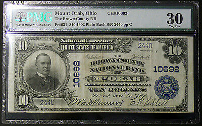 1902 $10 Mount Orab, OH - Brown County Natl Bank VERY RARE NOTE VF30 ~ CH# 10692