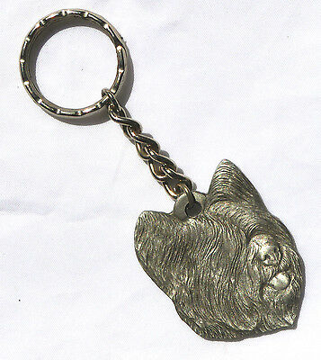Vintage -  I LOVE MY SKYE TERRIER DOG KEY CHAIN Made by Rawcliffe Pewter 1983