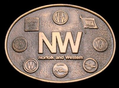 NB14175 *NOS* VINTAGE 1970s ***NORFOLK AND WESTERN*** NW RAILROAD TRAIN BUCKLE