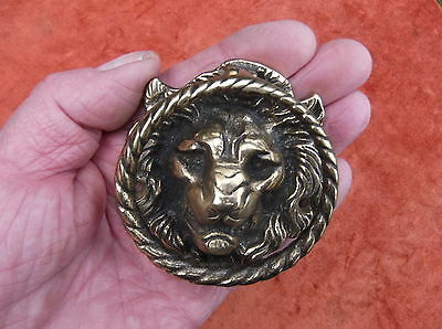 Antique Heavy Brass Lion Door Knocker/superb Detailed English Lion Door Striker