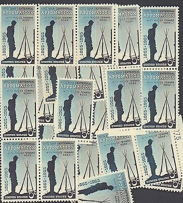 {BJ Stamps}  #1182  Surrender-Appomattox. 100 Unused 5 cents stamps. Issued 1965