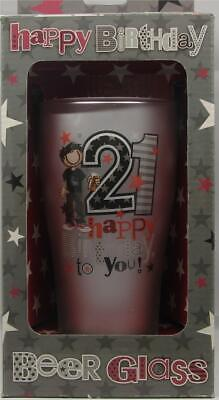 21st Birthday Frosted Pint Beer Glass Party Present Gift Favour