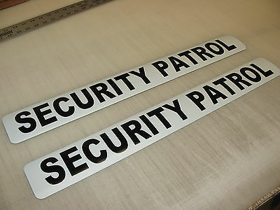 """2 SECURITY PATROL Magnetic Signs 3""""x24"""" Police Constable 1 Pair 4 Car Truck SUV"""
