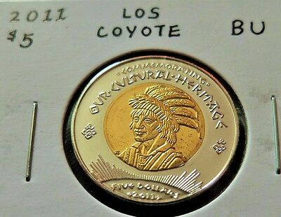 """rare"" 2011 Los Coyotes Indians Tribal $5 Dollar Coin, Bu Condition, Lot #193"