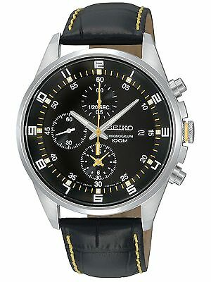 Seiko SNDC89P2 Men's Leather Band Black Dial Chronograph Casual Sports Watch