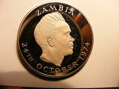Zambia Proof 1 Kwacha, 1974, 10th Anniversary of Independence, Mintage 1,500 !!!