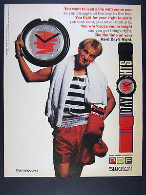 1990 Swatch POP Hard Day's Night watch & maxi photo vintage print Ad