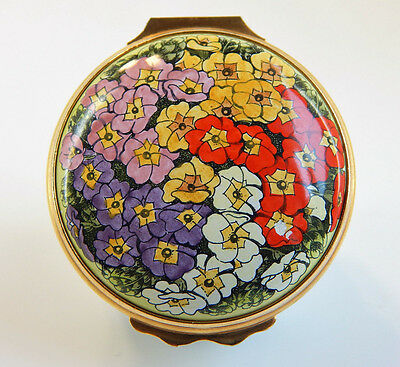 Halcyon Days Hinged Enamel Over Copper - Red, Pink, Purple, White Flowers