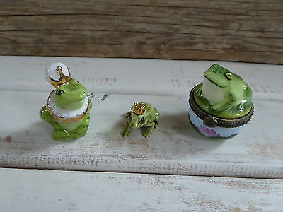 Lot of 3 Hagen Renaker Frog Prince 344 Figurine Miniature PLUS Trinket Box +++