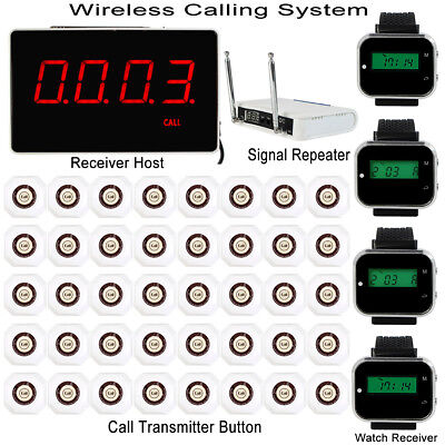 Wireless Calling System+Host +4 Watch Wrist Receiver+Signal Repeater+40 Pagers