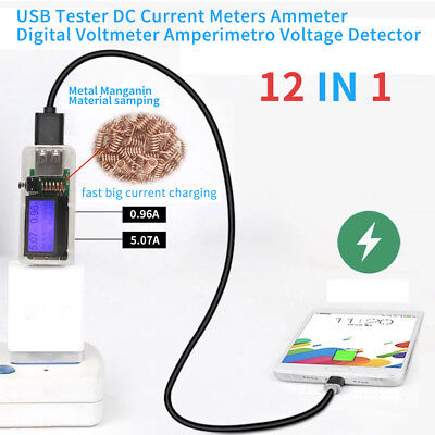 12 in 1 USB Tester DC Current Meters Digital Voltmeter Voltage Detector HighQ DH