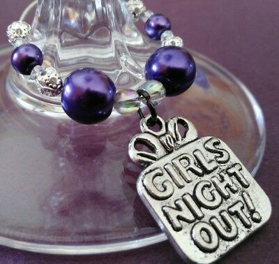 Girls Nite Out Wine Glass Charms. Hens Night