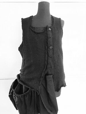Gilet Vest RUNDHOLZ Size L Wool Cotton Black