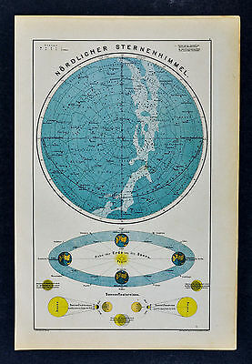 c 1885 Hartleben Map North Sky Chart Stars Milky Way Solar Eclipse Seasons Earth