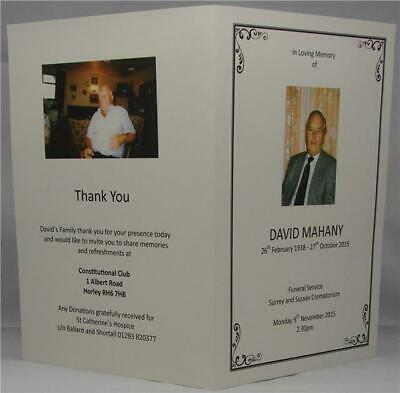 Personalised Ivory Or White Funeral Memorial Order Of Service With Photographs