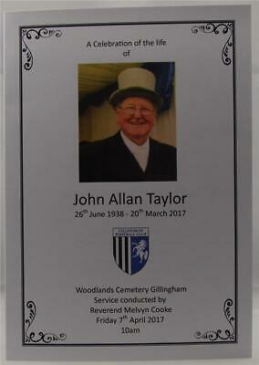 Personalised Ivory Or White Funeral Memorial Order Of Service Football Theme
