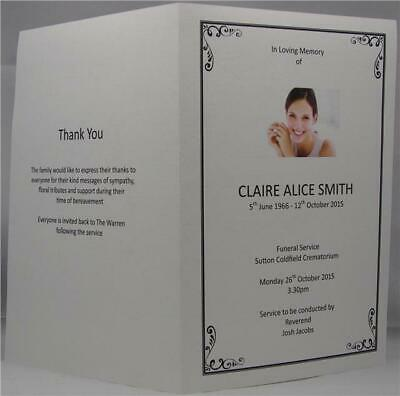 Personalised Photo White Or Ivory A5 Funeral Memorial Order Of Service
