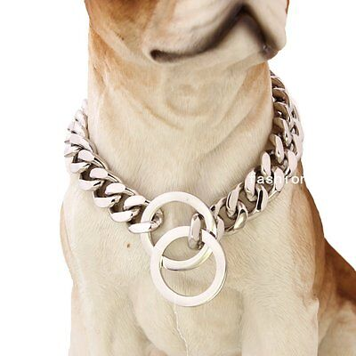 Strong Silver Stainless Steel Pet Dog Collar Curb Chain For Pitbull Doberman