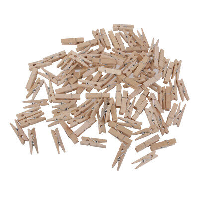 100x Natural Wooden Craft Pegs Clothespins Paper Photo Hanging Wood Spring Clips