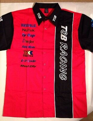T&B Racing Men's Large Embroidered Red and Black Pit Crew Team Shirt NWOT